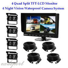 "9""Quad/Split LCD Backup Rear View Reversing Reverse Monitor Camera Kit For Truck"