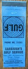 GULF GAS STATION MATCHBOOK: CARBAUGH'S (McSHERRYTOWN, PENNSYLVANIA) (1940s) -F11