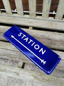 BR STATION enamel sign British rail eastern train sign railway sign arrow damage