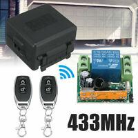 12V 433MHZ Funk Fernbedienung Garagentor Schalter-Empfänger mit 2 Handsender
