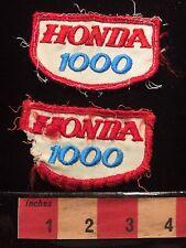 Vintage Pair Of Heavily Distressed Honda 1000 Biker Motorcycle Patch 66Z0