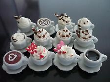 12 Mix Cups of Cappuccino Coffee Dollhouse Miniatures Food Deco Bakery Drink