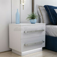 【INSMA】Set of 2/1 LED Nightstand with 2 Glossy Drawers Bedside Table White Black