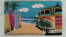 "Surfboards & ""Woody"" Wagon - Natural Coir on PVC Door Mat"