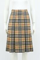 Burberry Vintage Nova Check Wool Pleated Skirt UK 8 /  XS S  Made in England