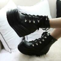 Womens Punk Ankle Boots Platform Lace up Creepers High Wedge Heel Gothic Shoes