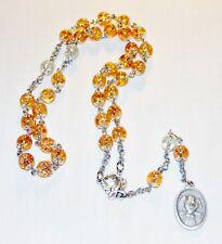 Handmade St Gabriel The Archangel Prayer Chaplet 8MM Amber & Clear Crackle Beads