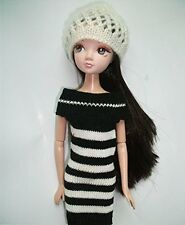 Fashion Mini Black White Stripes Sweater Dress Clothing Onepiece for Barbie Doll