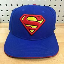SUPERMAN 3d Logo New Era 9FIFTY Original Fit Blue Hat with Red Snapback Cap EUC
