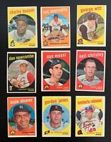 Lot of 9 1959 Topps Baseball Cards w/ Don Newcombe, 1 White Back +