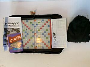 Scrabble Travel Game Portable Folio Case Tiles Board Scoresheet Complete