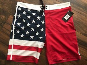 NEW Hurley Phantom Patriot 2 Men's Board Shorts Sz 34 Trunks Swim Trunks Flag