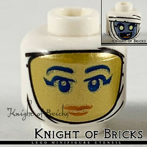 LEGO Minifigure Head WHITE Dual Sided Red Lips / Sand Blue Face with Yellow Eyes