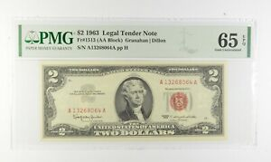 1963 $2 FR1513 (AA Block) Red Seal Graded PMG - 65 EPQ Legal Tender *619