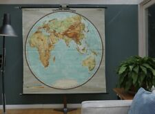 VINTAGE | 1960 | SCHULWANDKARTE ÖSTLICHE HALBKUGEL | SCHOOL WALL CHART | EARTH
