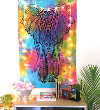 Indian Tapestry WallHanging Mandala Poster Size Elephant Head Rainbow Tapestries