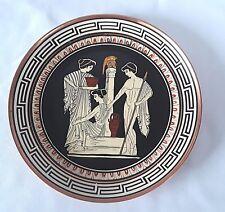 "Vintage Greek Handicraft Copper Plate GODDESS Nude GREECE 7"" Orestes & Helektra"