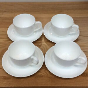 Tea Coffee Cups & Saucers Set of 4 China Porcelain White