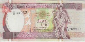 Malta Banknote P45d 2 Liri Prefix A/25, Sig Bonello, UNC