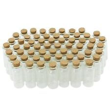 COM-FOUR 60X Mini Glass Bottle with Cork Stopper for Oil or Spices 10ml