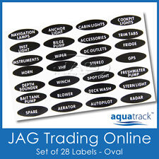 SET OVAL SWITCH PANEL LABELS -Boat/Marine/Caravan/4x4 Toggle Name Decal Stickers