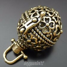 2X Antiqued Bronze Hollow Clover Ball Pendant Lockets Jewelry  Mexican Bola Bell