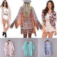 Women Boho Floral Kimono Cardigan Chiffon Tops Blouse Ladies Summer Beach Coat
