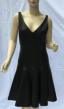 Ralph Lauren Black Leather Dress Womens 10 Flared Lined