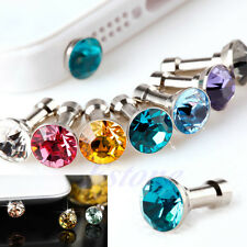 100Pcs 3.5mm Bling Anti Dust Crystal Earphone Plug Stopper Cap Fr iPhone Samsung