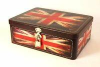 Lockable Union Jack Tin 21 cm x 16 cm x 8 cm - Rustic Metal Storage Box