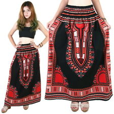 Dashiki African Skirt Cotton Mexican Hippie Tribal Ethic Boho Black as04r