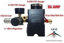 "26 AMP Air Compressor Pressure Switch 95-125 PSI 4 Ports 1/4"" Mini Regulator Set"