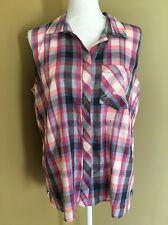 Calvin Klein Sleeveless Plaid Top Shirt NWOT Large Purple Button Down Summer