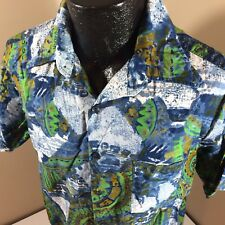 Vtg 60's Hawaiian Sands Men's Blue Green SURF Hawaii SURFER Camp Shirt ALOHA L