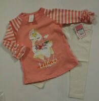 NEW Baby Toddler Girls 2 Piece Outfit 12 18 2T Pink Tunic Top Leggings Set Lot