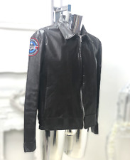 Mens Leather Bomber Fighter Pilot Jacket by Shields Navy Top Gun US Cafe Racer