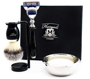 5 Piece Shaving Set - 5 Edge Blade Razor & Synthetic Brush Men's Grooming Kit