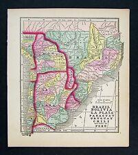 1857 Morse Map  La Plata Argentina Bolivia Uruguay Paraguay Chile Brazil Bolivia