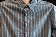 New John Ashford Iced Teal Long Sleeve Button Front Striped Dress Shirt M