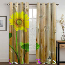Sunflower Modern Printed Curtains Pleated Curtains Blackout Curtain Drapes 2 Pcs
