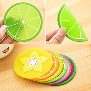 Silicone Coasters Fruit Cup Placemat Mat 7pcs Round Heat-resistant Coffee Pad nw