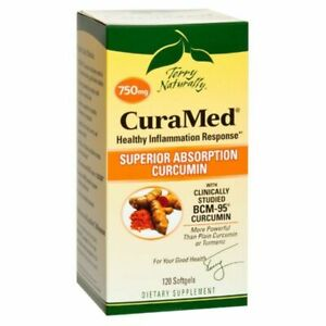 EuroPharma Terry Naturally CuraMed 750 mg 120 Softgels Dairy-Free, Gluten-Free,