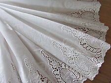 """High Quality Lovely Cotton Embroidered Lace Fabric 73cm(28"""") Wide OffWhite 1Yd"""