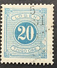 Sweden 20 ore light blue, Postage Due. P.13,SGD32a, 1874-89, used, slight scuff