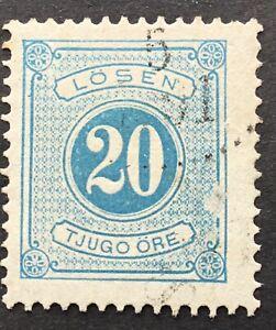 Sweden 20 ore light blue, p.13, Postage Due MiP6A, SGD32a, slight scuff, used,
