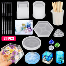 26PCS Epoxy Resin Casting Silicone Molds Kit DIY Jewelry Making Pendant Craft US