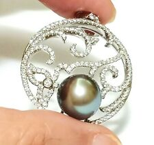 Marvelous Natural Peacock Grey Tahitian Sea 10.8mm Round Pearl Vintage Pendant