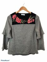 THML Women's Gray Velvet Embroidered Long Ruffle Sleeve Blouse Top Size Small