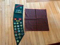 Vintage Girl Scout Sash With Patches, Pins And Plaid Scarf Handkerchief 1980s