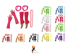 80s NEON FANCY DRESS HEN PARTY COSTUMES SET Leg Warmers Gloves Necklace For Tutu